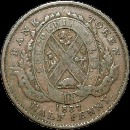 Canada 1837 One Half Penny Montreal Bank Token V In The Line Nice Coin!