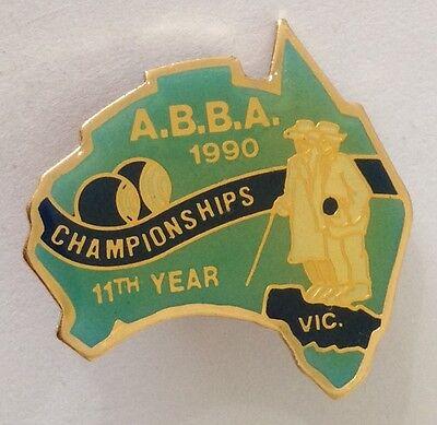 ABBA 1990 Victorian 11th Year Championships Bowling Club Badge Pin (L36)