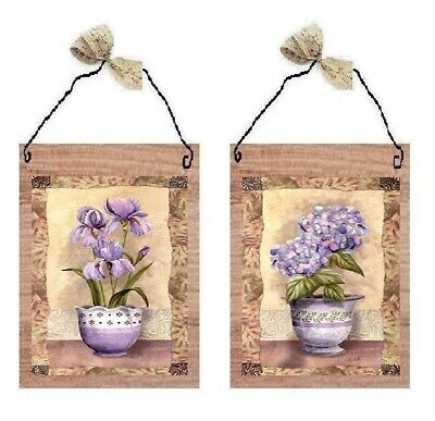 Floral Pictures Lavender Flowers Purple Bathroom Bedroom Wall Hangings Plaques ()