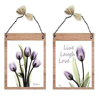 Purple Tulip Pictures Lavender Flowers Live Love Floral Wall Hangings Plaques Purple Tulip Flowers