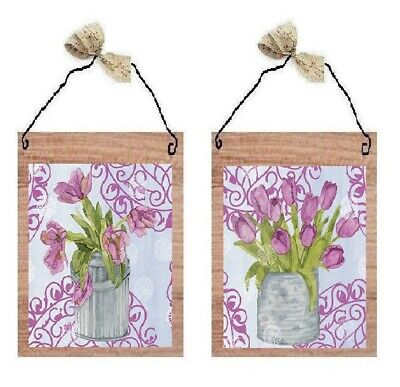 Pink Tulips in Vase Pictures Floral Flowers Kitchen Decor Wall Hangings (Pink Tulip Pictures)
