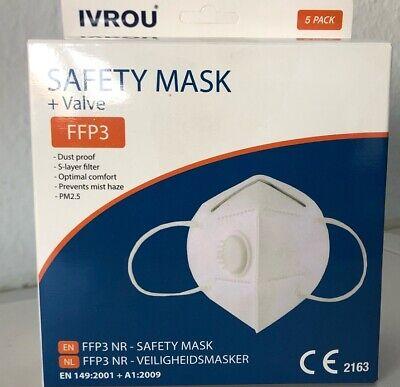 5 x IVROU FFP3 Mund-Nasenschutz Atemschutzmaske mit Ventil EN 149: 2001+A1:2009