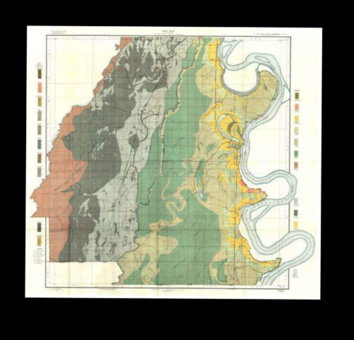 East and West Carroll Parishes 1908 Soil Survey Map 30 x 31 in. FREE SHIPPING.