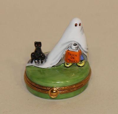 Limoges Artoria Dubarry Halloween Trinket Box Ghost Trick or Treat Cat 274/1000 (Limoges Halloween)