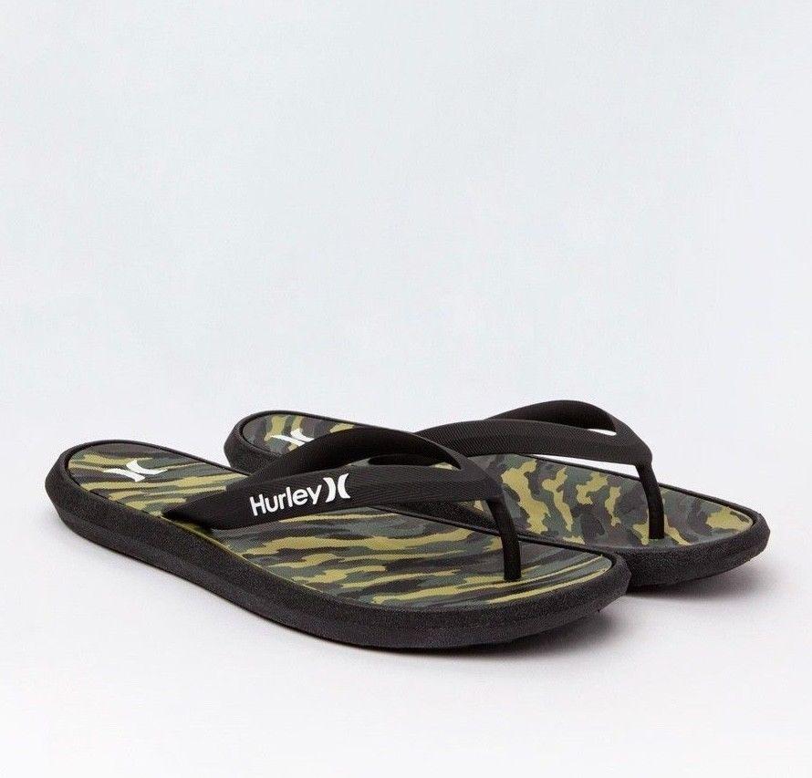 Hurley One & Only Printed Men's Sandals Flip Flops Black Cam
