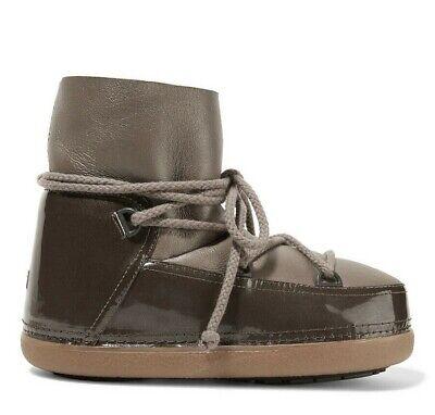 INUIKII IKKII Gloss Low Sheepskin Patent Leather Boots Sahara 36