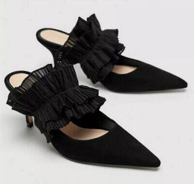 Zara Black leather Ruffle Pointed Toe Shoe