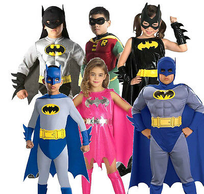 Child Robin Costume ((R)Child BATMAN ROBIN BATGIRL DELUXE Superhero Girls Boys Fancy Dress Costume)