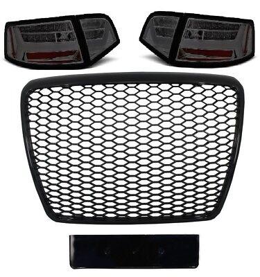 Ecke Vorne Schwarz Leder (Für Audi A6 4F 04-12 RS6 -Look Wabengrill + Led Rückleuchten Stoßstangen Grill 2)