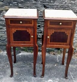Pair of large continental mahogany and strung pot cupboards with pink marble inset