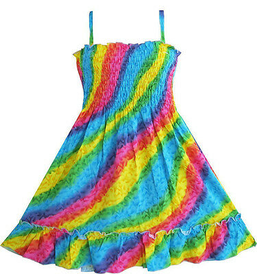 US Seller Girls Dress Rainbow Smocked Halter Children Clothing SZ (Childrens Clothing Smocked Dresses)