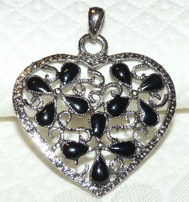 Silver Tone Black Glass Heart Pendant  A78*