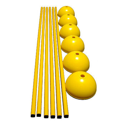 [6] WORKOUTZ 60-INCH SOLID SLALOM AGILITY POLES WITH DOME BASES SPEED SOCCER