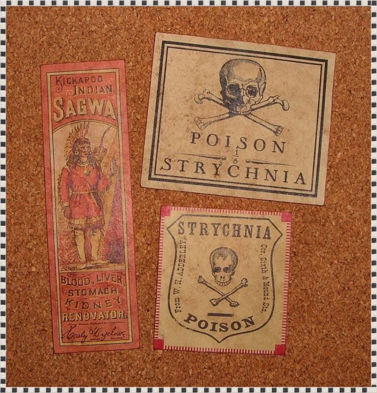 13 POISON VINTAGE LOOK VICTORIAN APOTHECARY LABELS Halloween/Steampunk/Primitive