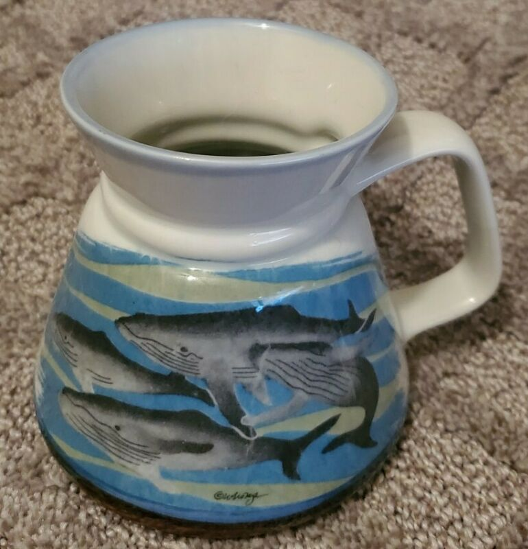 RARE!! OTAGIRI Humpback Whale Travel Mug Stoneware Pottery Nautical Ocean Japan