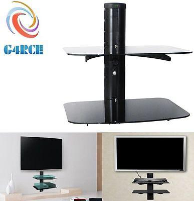 2 Tier Floating Wall Mount Bracket Shelf Sky Box DVD XBOX HIFI Unit AV Shelves for sale  Shipping to Nigeria