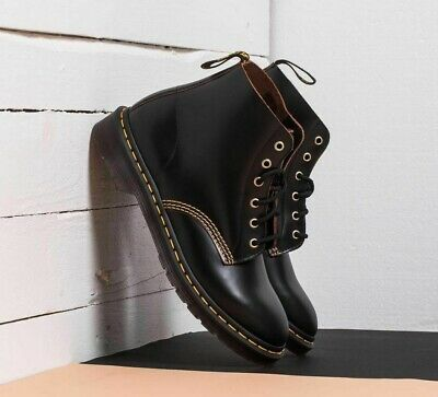 Dr. Martens 101 Vintage Smooth Black Archive 6-Eye Leather Boots 22701001