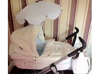Baby style limited edition (prince) S3D White and baby blue leather pram/pushchair
