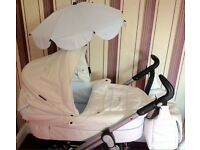 (REDUCED)Baby style limited edition prestige (prince) S3D White and baby blue leather pram/pushchair