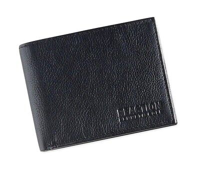 75 Kenneth Cole Mens Black Leather Bifold 9Cc Id Credit Card Passcase Wallet