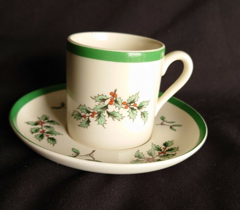 Spode+Christmas+Tree++Demi+Tasse+Espresso+Coffee+Cup+%2F+Can+and+Saucer+