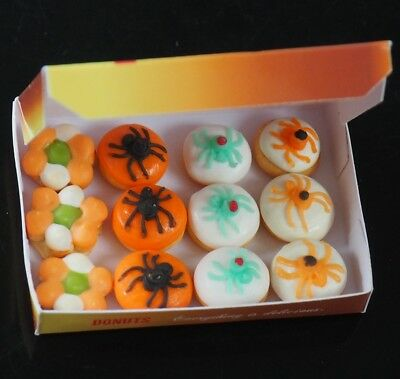 Dollhouse Miniatures 12 Halloween Donuts Doughnut in a Box Food Party Holiday - Halloween Party In A Box