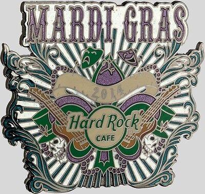 Beads Online (Hard Rock Cafe ONLINE 2014 MARDI GRAS PIN Mask Guitars Beads Skulls HRC)
