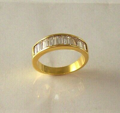 Princes Cut Cubic Zirconia Wedding Band Ring Channel Set 24K Gold Plated Sz 7, 9