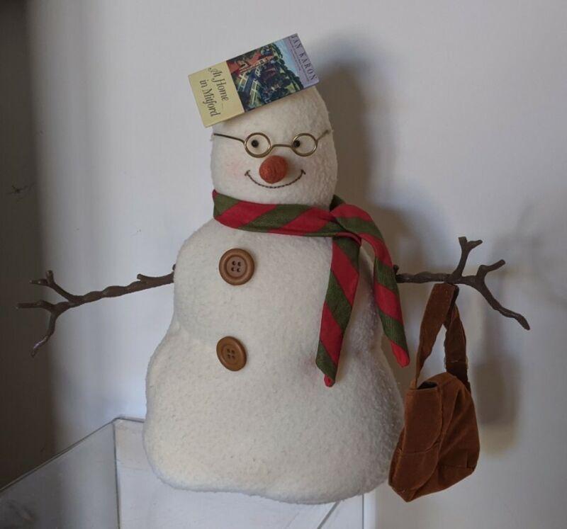 "At Home in Mitford Snowman - 11"" Plush Hallmark - Jan Karon - Book Hat and Purse"