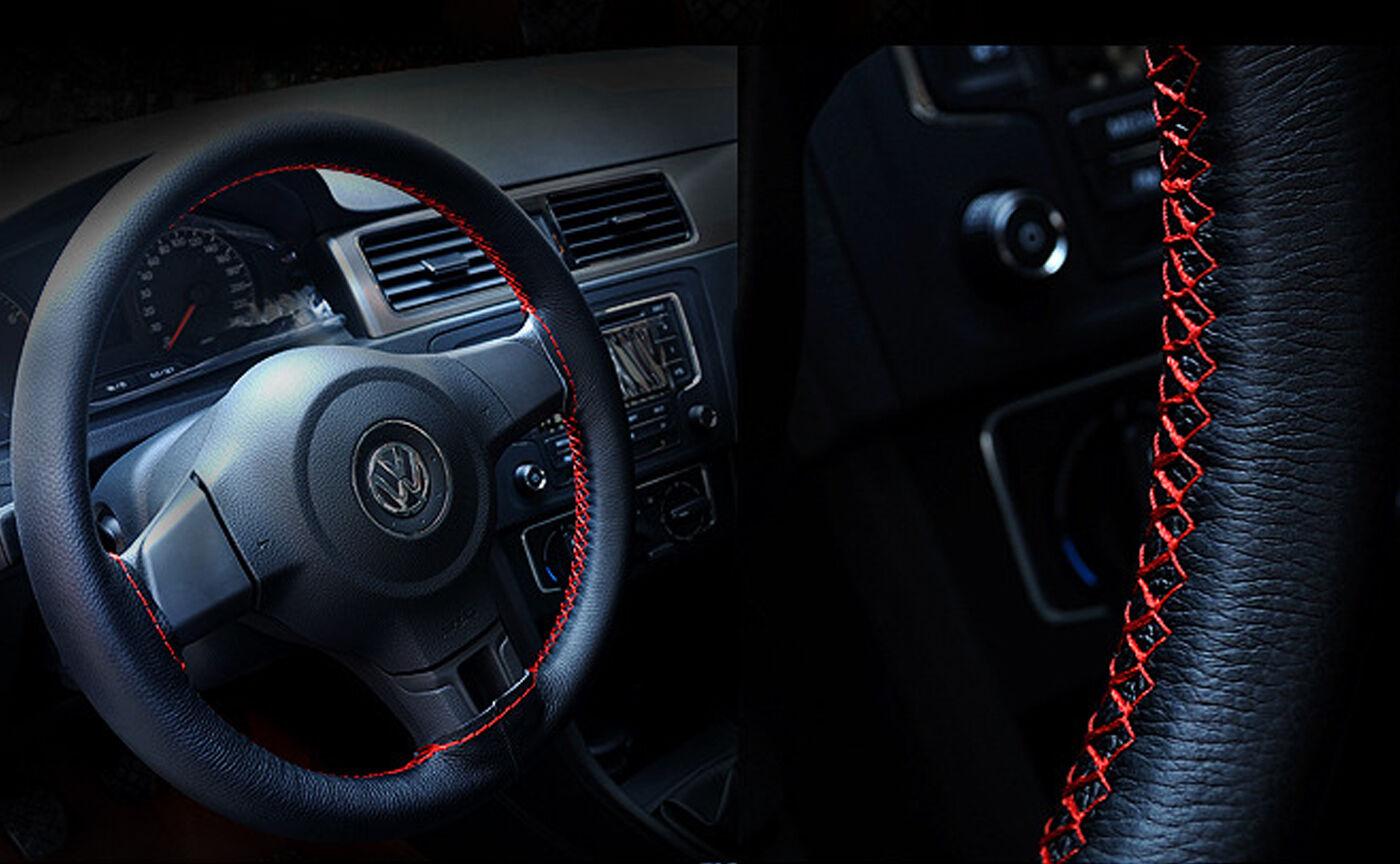 DIY PU Leather Steering Wheel Cover 14/'/'//15/'/'//16/'/' w//Needles Thread BLACK//RED