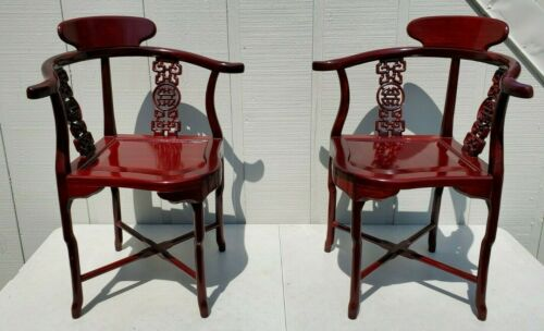 PAIR VINTAGE CHINESE CARVED ROSE LACQUERED WOOD CORNER CHAIRS SYMBOLS ORIENTAL