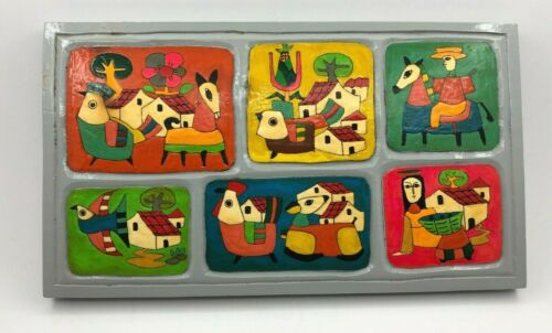 Mexican Folk Art Hand Painted Wooden Wall Plaque Birds People Houses unsigned