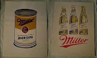 Pair of Miller High Life Art Prints Digrent Alan Hynes Andy Warhol Tribute Print