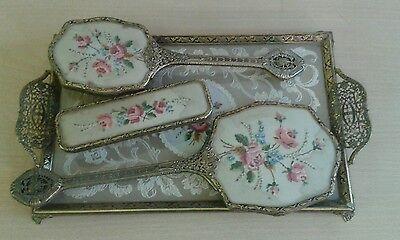Vintage 4 Piece Delina Petit Point Vanity / Dressing Table Set inc Tray