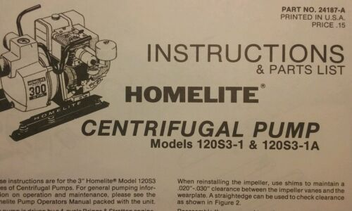 Homelite Centrifugal Trash Pump Owners & Parts   12pg Pond W