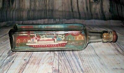 Vintage Handmade Diorama Coastal Scene Ship in a Bottle