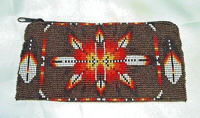 """Beaded Tote Bag Native American design Fabric Lined Zips close 7x3.5"""" BROWN"""