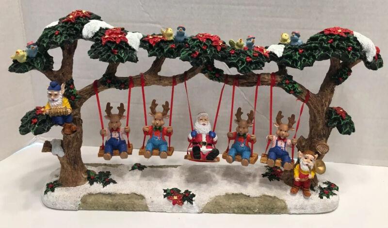 Jaimy Christmas Tree Swing Santa & 4 Reindeers Birds Poinsettia