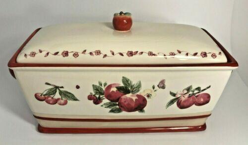 "Pfaltzgraff  Ceramic Bread Box with Lid ~ Fruits ~ ""Delicious"""