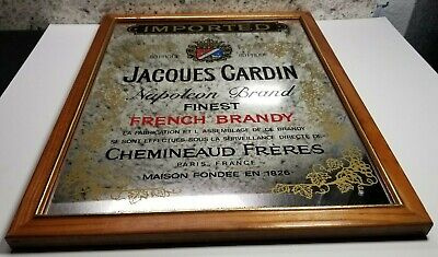 Vintage Jacques Cardin French Napoleon Brandy Bar Mirrored Sign