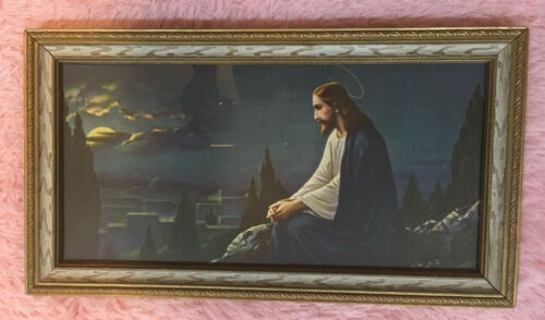 Christ On The Mount Of Olives Jesus At Night Lithograph Art Print Vintage Framed