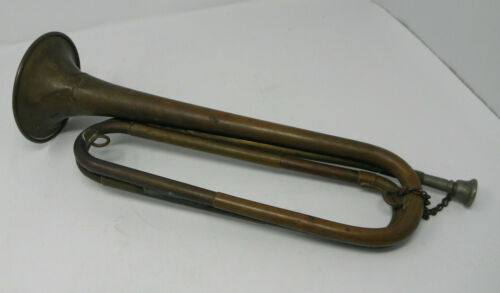 Antique Unmarked Copper & Brass ?? BUGLE with Mouthpiece and Chain