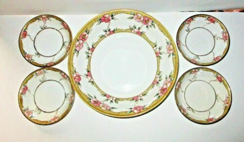 Nippon Porcelain Berry Bowl Serving Set Hand Painted Pink Flowers Gilt Antique