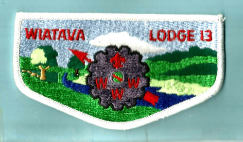 OA Lodge 13 S- WIATAVA OA LODGE grey cog stone Boy Scout flap CA Orange Council