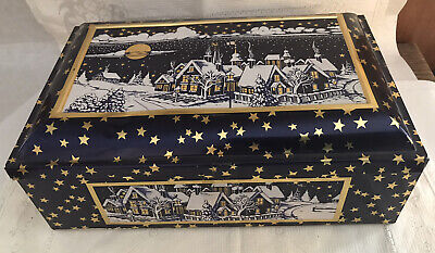 Vtg E. Otto Schmidt Large Cookie Tin Box Blue White Winter Xmas Scene Village