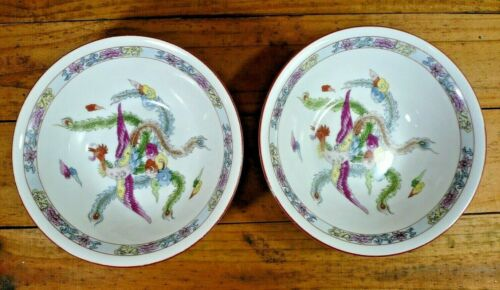 """Pair of Large Chinese Soup Noodle Bowls with Phoenix 7 1/2"""" Diameter"""