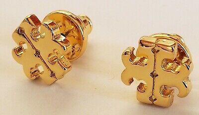 QUALITY! NEW LOGO TORY BURCH SMALL STUD BUTTON EARRINGS PIERCED GOLD TONE  New Logo Button Earrings