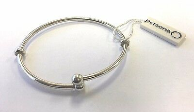 NWT Persona Sterling Silver Double Stopper Bangle Charm Bracelet