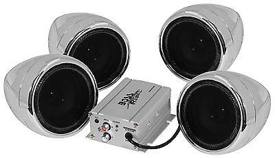BOSS Chrome 1000 watt Motorcycle/ATV Sound System with Bluetooth Audio Streaming