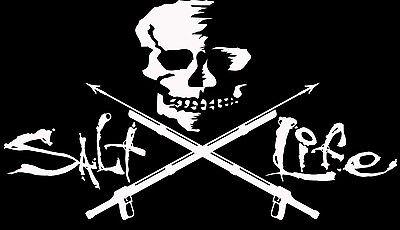 """SALT LIFE SKULL & SPEAR GUNS""""WHITE"""" MEDIUM UV Rated Vinyl Decal*FREE SHIPPING"""
